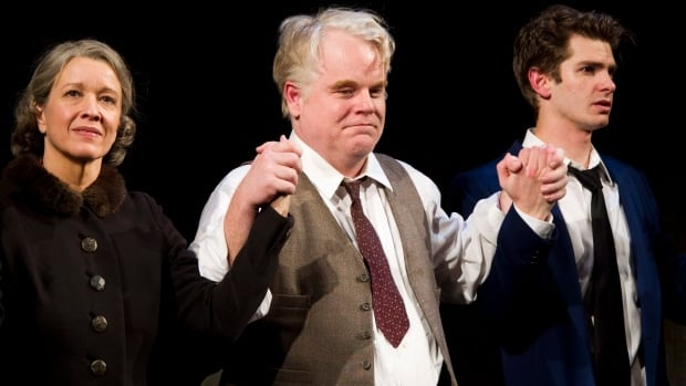 A new playwriting prize is being established in the memory of film and stage actor Philip Seymour Hoffman, seen at centre with Linda Emond and Andrew Garfield on Broadway in 2012.