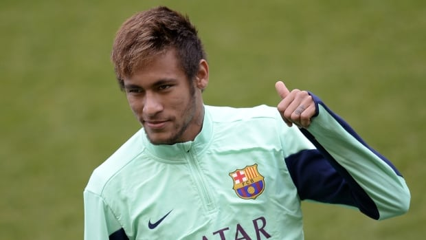 Neymar worked with the ball at Barcelona's training ground on Monday as he recovers from an ankle sprain.