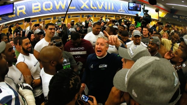Seahawks head coach Pete Carroll gives his post-game victory speech after Seattle beat the Denver Broncos in Super Bowl XLVIII on Sunday.