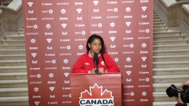 Manitoba Olympian Desiree Scott speaks at the Canada's Women's National Team home schedule announcements made in Winnipeg on Monday.