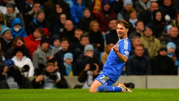 Branislav Ivanovic of Chelsea exults in scoring the lone goal in a 1-0 victory over Manchester City at Etihad Stadium on Monday.