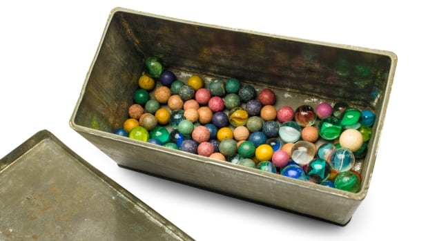 A set of marbles belonging to Anne Frank: shortly before she and her family went into hiding from the Nazis, she gave away some of her toys to non-Jewish neighborhood girlfriend Toosje Kupers for safekeeping.