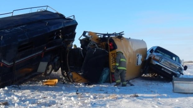 A crash near Biggar, Sask., claimed the life of Monica Domes, who was on the side of a highway when she was hit by a school bus carrying her twin sons and another child, as well as a school bus driver.