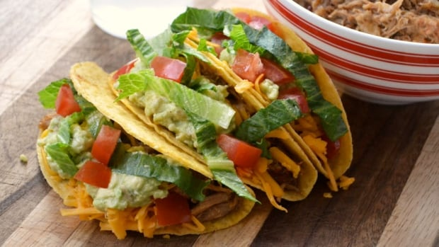 Pulled pork and bean tacos