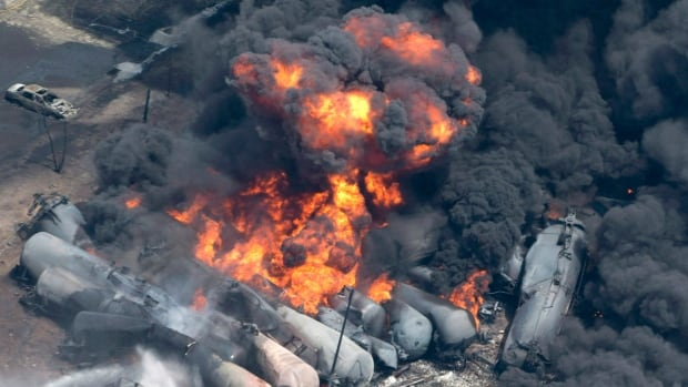 A runaway train with 72 tank cars of Bakken oil derailed, exploded and burned in the downtown area of Lac-Megantic, Quebec, in July. Forty-seven people were killed and 30 buildings destroyed.