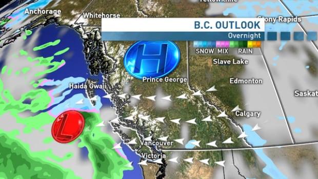 Arctic ridge - cold air across B.C. West Coast