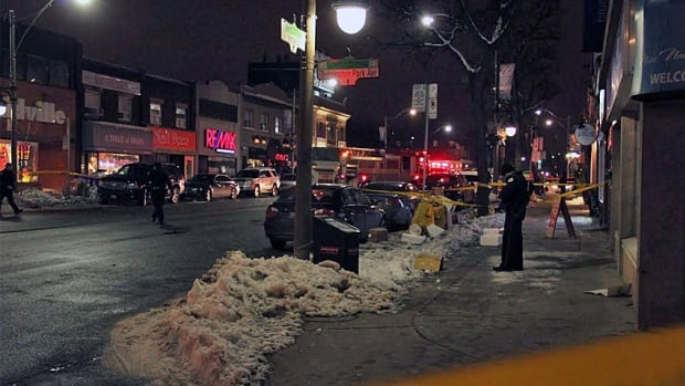 Police cordon off a section of Yonge Street north of Lawrence, after a man was found shot multiple times. The victim was rushed to a trauma centre with vital signs absent.