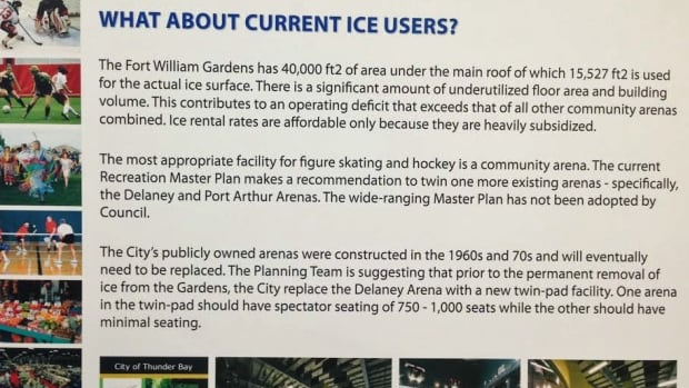 If Thunder Bay's Fort William Gardens becomes a multi-purpose facility, the ice would be taken out. Ice users in the city would have other options, as explained by this information sheet presented to the public Tuesday night.