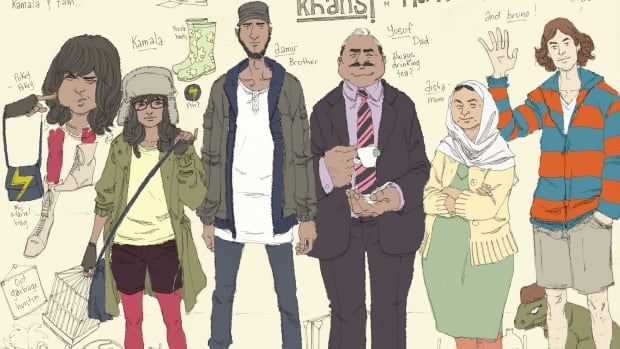 An image from Marvel Comics shows the new Ms. Marvel character Kamala Khan, at left, with her family: brother Aamir, father Yusuf, mother Disha and friend Bruno.