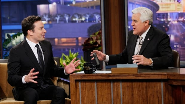 Incoming Tonight Show host Jimmy Fallon, left, is seen as a guest of outgoing host Jay Leno on Monday. Leno, 63, shoots his final show Thursday.