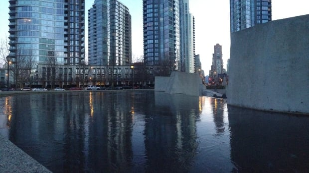 The cold snap has frozen water features outside building's in downtown Vancouver.