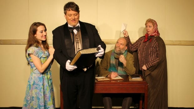 The Anniversary, one of  two Chekhov comedies  (L-R: Rachel Hiebert, Dean Duncan, Tim Beaudry, Ardyth Johnson) shows at Chekhovfest 2014.