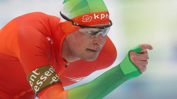 Sven Kramer of the Netherlands skates during the men's 10,000-metre race at the World Cup in Astana, Kazakhstan. Speedskaters have special slippery patches on the legs of their outfits to reduce friction when their legs touch as they go around corners.