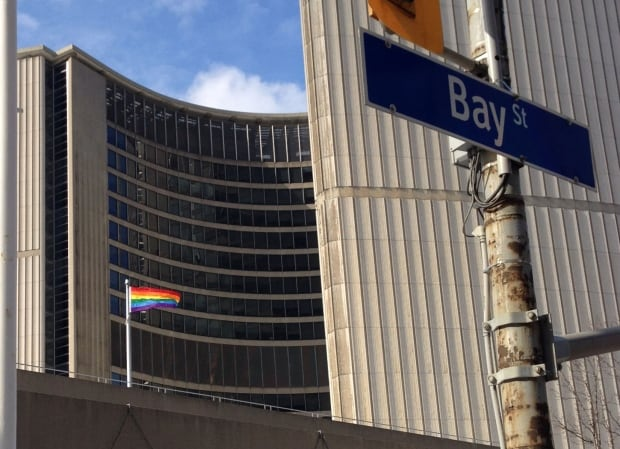Pride flag at City Hall