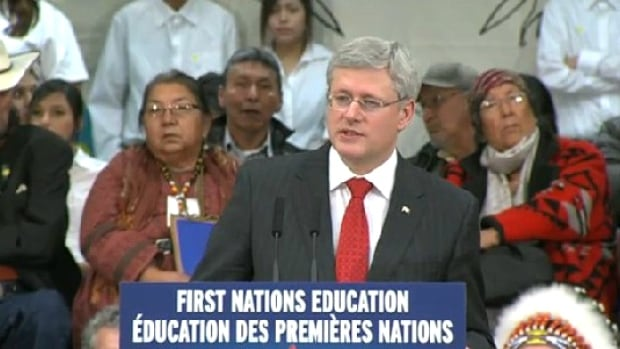 Prime Minister Stephen Harper was at an Alberta high school today to unveil the Conservative government's plan to reform First Nations education last week.