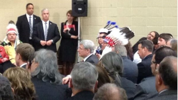Prime Minister Stephen Harper visited Kainai High on the Blood Reserve, Alberta, for an announcement on Friday of the revamped First Nations Education Act.