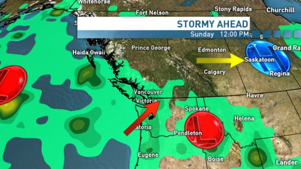 A moist Pacific weather system will start moving in on Sunday, pushing out the cold Arctic air and bringing precipitation, shown in green, to B.C.'s South Coast over the Family Day long weekend.