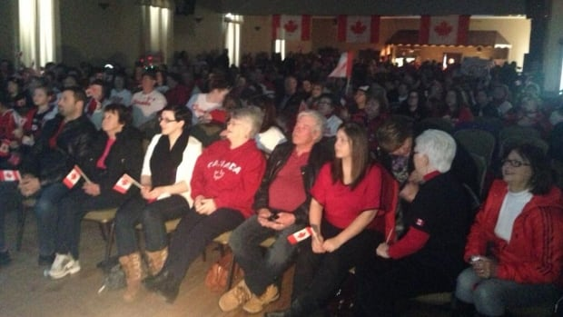 The crowd looked on at St. Gabriel's Hall in Marystown as they watched Kaetlyn Osmond compete in her first Olympic Games.