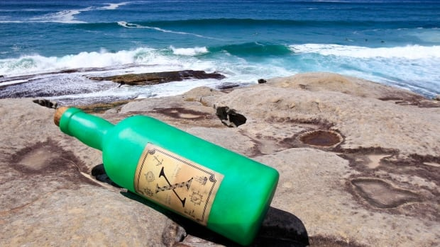 A bottle (not the one pictured) washed up on the shores of Crozon in Brittany, France containing a message from Quebec. Lucien Sanquer, who the CBC is trying to contact, found the message.