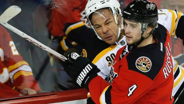 Flames defenceman Kris Russell, seen here battling one-time Calgary captain Jarome Iginla in a game earlier this season, has signed a two-year deal with the team.