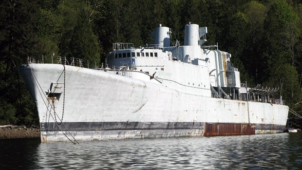 The decommissioned HMCS Annapolis, pictured in Howe Sound in 2010, is at risk of accidentally sinking, if not towed to B.C.'s Halkett Bay, according to the Artificial Reef Society of B.C.