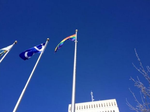 Regina City Hall rainbow flag