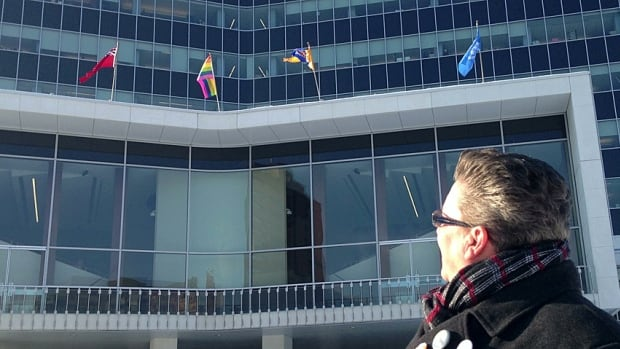 Social planner Deirdre Pike looks up at the pride flag on Hamilton's city hall, flying there because of the Sochi Winter Olympic Games. The mayor says the positive comments have outweighed the negative ones.