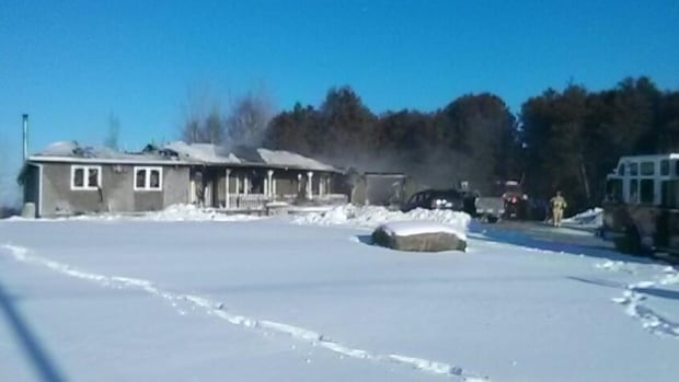 An early morning fire destroyed a house on Callendor Road in North Gower, leaving a family of eight homeless.