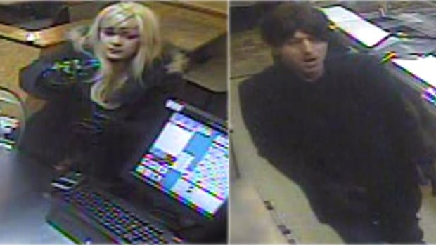 This woman and man, both donning wigs and gloves, are wanted in connection with the robbery of a Subway and a Love Shop adult novelty store.