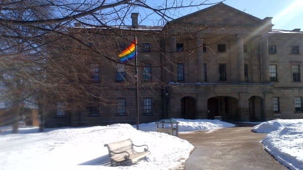 On Tuesday, a rainbow flag climbed the flagpole in front of Province House, in solidarity with people in the LGBT community.