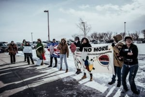 Protest outside FNEA announcement