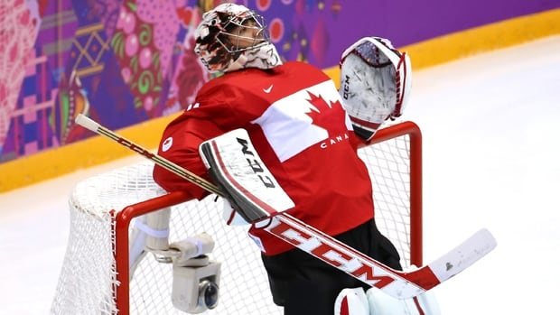 Carey Price leans on the net prior to the start of the Men's Ice Hockey Preliminary Round Group B game against Norway on day six of the Sochi 2014 Winter Olympics at Bolshoy Ice Dome on February 13, 2014 in Sochi, Russia.