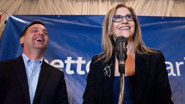 Gila Martow, seen here with PC Leader Tim Hudak, steered the Tories to a win, besting Liberal contender Sandra Yeung Racco and maintaining the party's grip on the riding previously held by its finance critic, Peter Sherman.