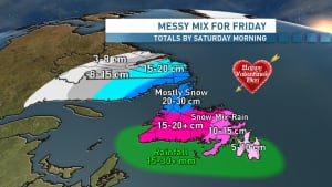 Valentine's Day weather map