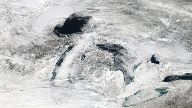 The Great Lakes Ice cover on Jan. 6, 2014, seen in a NASA satellite image, was significantly greater than on the same date in 2013.