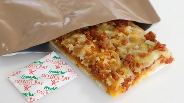 In order to create a pizza suitable for military rations, scientists tweaked the acidity of the sauce, cheese and dough to make it harder for oxygen and bacteria to thrive. They also added iron filings to the package to absorb any air remaining in the pouch.