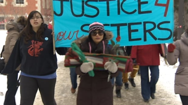 """""""Searching for a way to feel safe daily is something that has been elusive for many indigenous women,"""" say Christa Big Canoe and Melina Laboucan-Massimo. PHOTO: A march for missing and murdered indigenous women in Edmonton."""