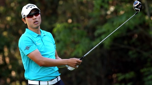 Leader Bae Sang-Moon hits a tee shot in the second round of the Northern Trust Open at Riviera Country Club on Friday.