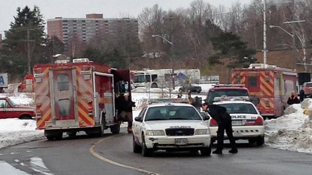 Police and firefighters hold the scene at a factory in Scarborough where a chemical leak occurred on Saturday morning.