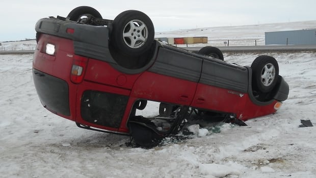 A single-vehicle rollover near Swift Current, where conditions on Hwy. 1 were treacherous Sunday morning.