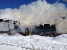 Ferme Rouge destroyed by fire (Feb. 16, 2014)