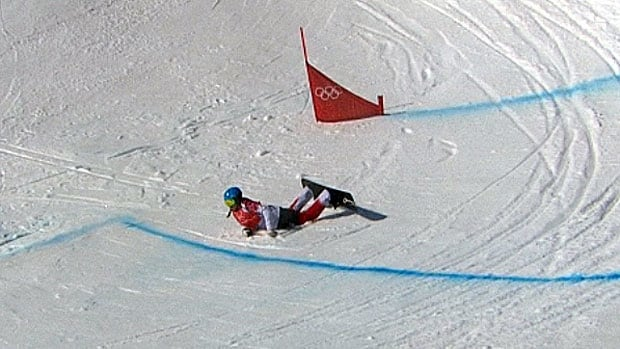 Olympian Maelle Ricker placed 21st after crashing twice in the women's snowboard cross quarterfinals at the Winter Olympic Games in Sochi, Russia.