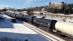 Rail cars destined for the Irving Oil refinery