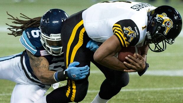 Import linebacker Marcus Ball (6) totalled 69 tackles, four sacks and three interceptions for the Toronto Argonauts in 2013.