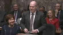 B.C. Finance Minister Mike de Jong tabled the 2014 budget Tuesday