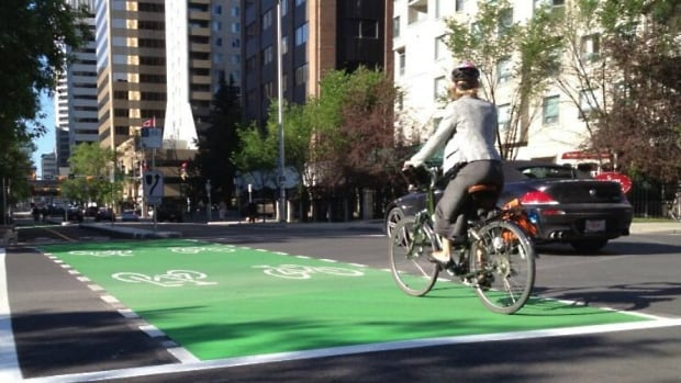 Dedicated two-way bicycle lanes, called a cycle track, opened last summer in Calgary on Seventh Street S.W. between the Bow River pathway and Eighth Avenue. A city committee will be debating the next leg of the downtown cycle network Wednesday.