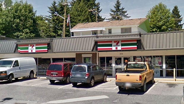 Albert Trim says he fell through an unsecured manhole outside this 7-Eleven in Coquitlam, B.C., and is now suing the company for negligence.