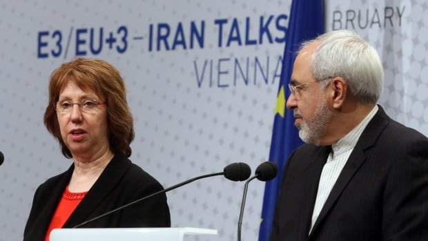 European Union High Representative Catherine Ashton, left, and Iranian Foreign Minister Mohammad Javad Zarif, speak to the media after closed-door nuclear talks in Vienna, Austria, Thursday, Feb. 20, 2014. Iran and six world powers were back at the negotiating table eager to come to terms on a comprehensive nuclear deal but deeply divided on what it should look like.