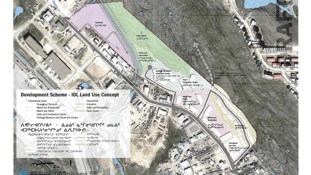The Qikiqtani Inuit Association and Qikiqtaaluk Corp. are presenting plans this week for a large swath of unused land in downtown Iqaluit. The proposal includes a subdivision, a hotel and conference centre, heritage museum and visual arts centre. (Scroll down to see the original PDF of this image.)