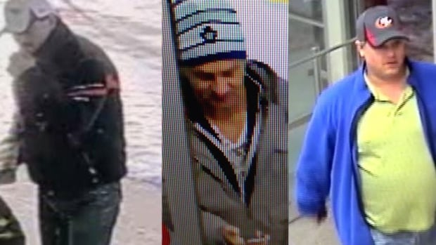 """Winnipeg police released security camera images of these three """"persons of interest"""" in two commercial break-ins in January."""